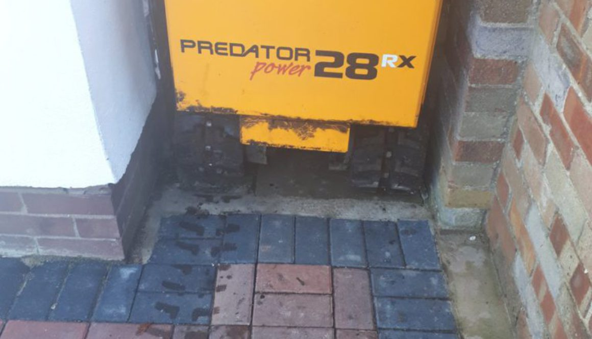 You can see by the photograph that our tree stump grinder will fit through fairly tight passageways! This recent photogr...