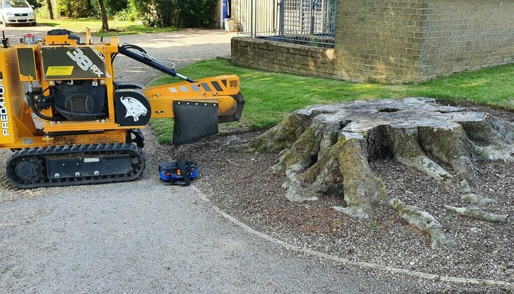 Removing a large oak tree stump at Thurlow, near Newmarket, Suffolk. Believe it or not, oak is one of the easier types o...