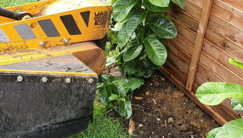Tree stump grinding in Steeple Bumstead, near Haverhill, Suffolk. The area was cleared of tree stumps in preparation for…